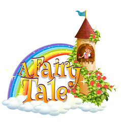 Font design for word a fairy tale with princess vector
