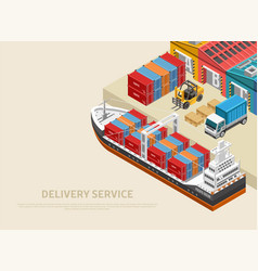 Freight ship near warehouses and heavy vehicles vector