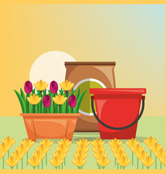 Gardening bucket potting soil flowers design image vector