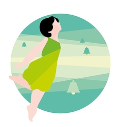 Girl in a green dress and bells vector