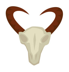 goat skull with horns stone age primitive people vector image