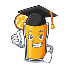 Graduation orange juice character cartoon vector