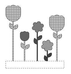 grayscale figures flowers plants icon vector image vector image