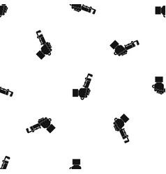 hacksaw in man hand pattern seamless black vector image
