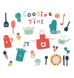 Hand drawn of cute kitchen tools and ready fpr vector