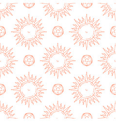 hand drawn sun seamless pattern vector image