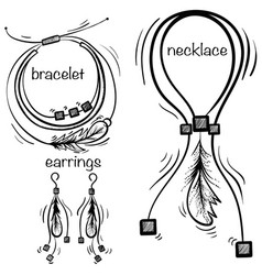 Hand made necklace bracelet and earings vector