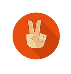Hand showing number two or victory gesture vector image