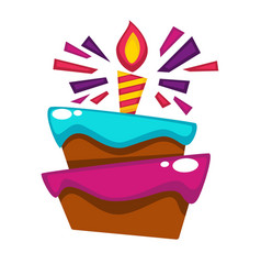 Happy birthday cake candle design template vector