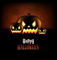 happy halloween poster with pumpkins vector image