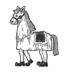 horse costume in theater sketch engraving vector image