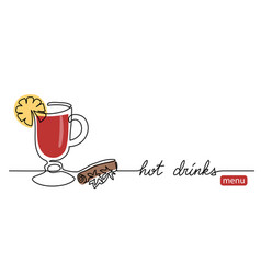 hot drinks menu simple line banner vector image