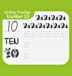 how to write number ten worksheet vector image