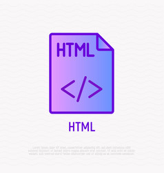 html file format thin line icon modern vector image