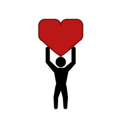 human silhouette lifting heart vector image