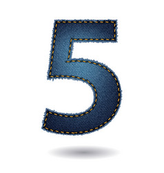 jeans alphabet letters number 1 modern template vector image