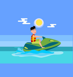 Jet ski summer activity sea vector