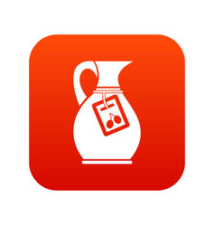 Jug with olive oil icon digital red vector