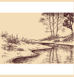 Landscape drawing river flow and vegetation vector