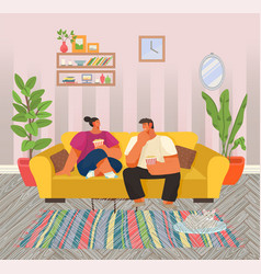 life young couple with popcorn at home vector image