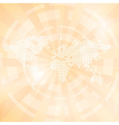 light orange abstract background with map and rays vector image