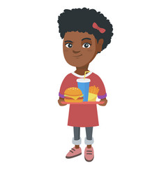 little african girl holding tray with fast food vector image