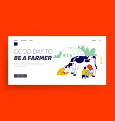 Milkmaid milking cow into bucket website landing vector