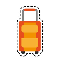 orange suitcase with wheels icon image vector image