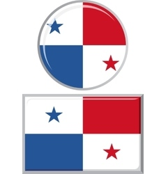 Panamanian round and square icon flag vector