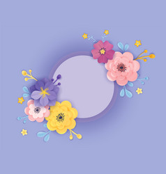 Paper cut flowers greeting card template floral vector