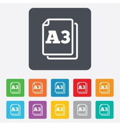 Paper size A3 standard icon Document symbol vector image