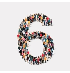 people form number six vector image