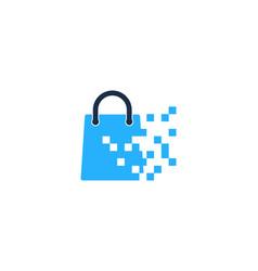 pixel shopping logo icon design vector image