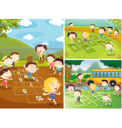 playground scenes with children playing hopscotch vector image