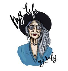 portrait beautiful old woman dressed in shirt vector image