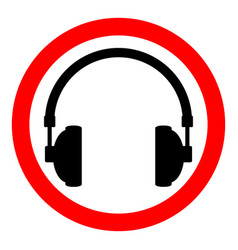 prohibition sign headphones on white vector image