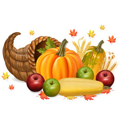 pumpkins and apples autumn fall harvest 3d vector image