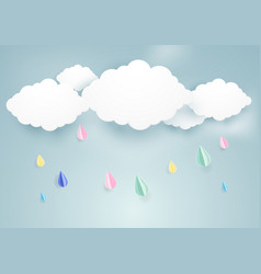 rainy fall and clouds background paper art style vector image