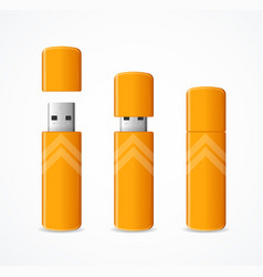 realistic 3d detailed yellow usb flash drive set vector image