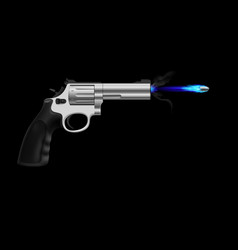 Revolver firing ice bullet on black background vector