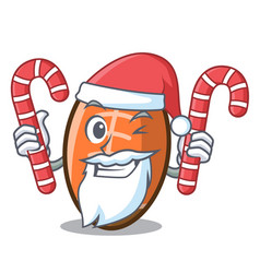 Santa with candy rugby ball mascot cartoon vector