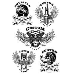 Set of 5 vintage biker on white background 1 vector