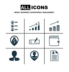 Set of 9 human resources icons includes job vector