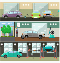 Set of car service station repair shop vector
