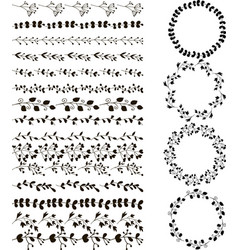 set of hand drawn line borders and wreaths set vector image