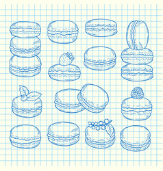 set of hand drawn macaroons vector image