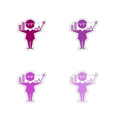 Set of paper stickers on white background graphics vector
