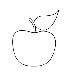 Silhouette apple fruit food icon flat vector