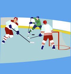 sports match men play hockey in minimalist style vector image
