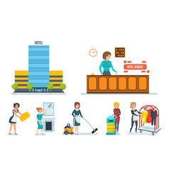 staff of the hotel serves hotel room and rooms vector image